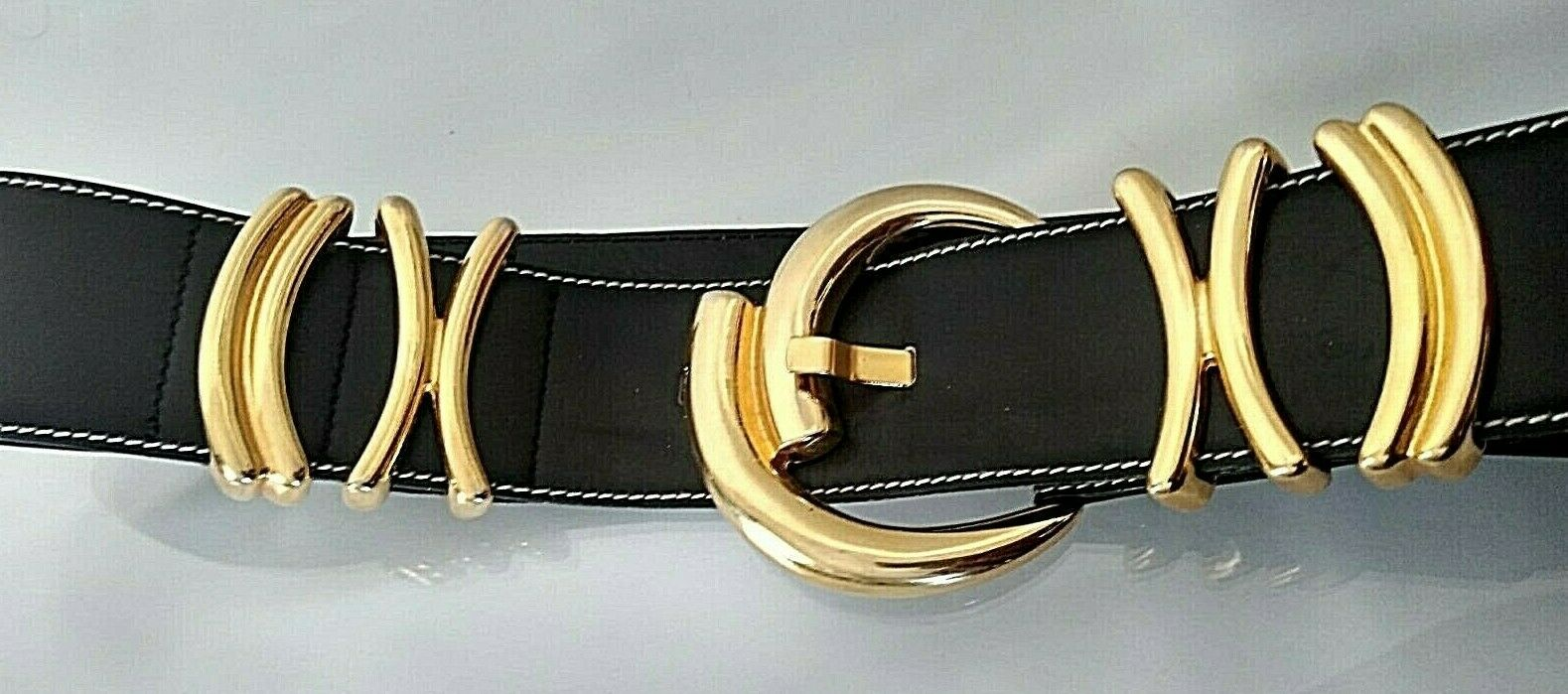 VINTAGE INCREDIBLE ESCADA 1980s BLACK LEATHER GOL… - image 2