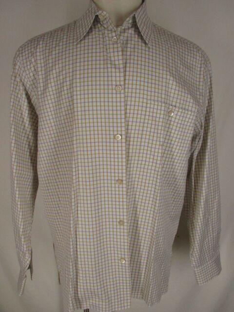 8275e81f Ermenegildo Zegna Mens White Tattersall Long Sleeve Cotton Shirt L ...