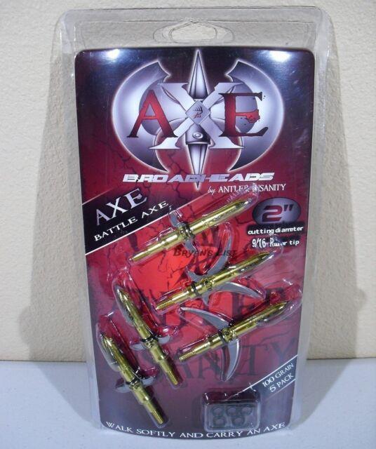"BATTLE AXE Expandable Curved Sickle 2 Blade 100 Gr 2"" Cut Archery Broadheads 5pk"