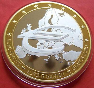 Euro Giant 2009 Commemorative 75gr Silver Art Bar Gold Plating - 10th Anniv - Bu Beroemd Voor Geselecteerde Materialen, Nieuwe Ontwerpen, Prachtige Kleuren En Prachtige Afwerking