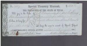 1862-AUSTIN-Texas-HUNT-County-SCHOOL-Treasury-Warrant-No-2329-580-28-NT0115