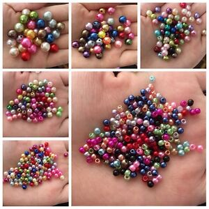 8//10mm Acrylic Round Pearl Spacer Loose Beads Jewelry Making DIY JND Hot 4 6