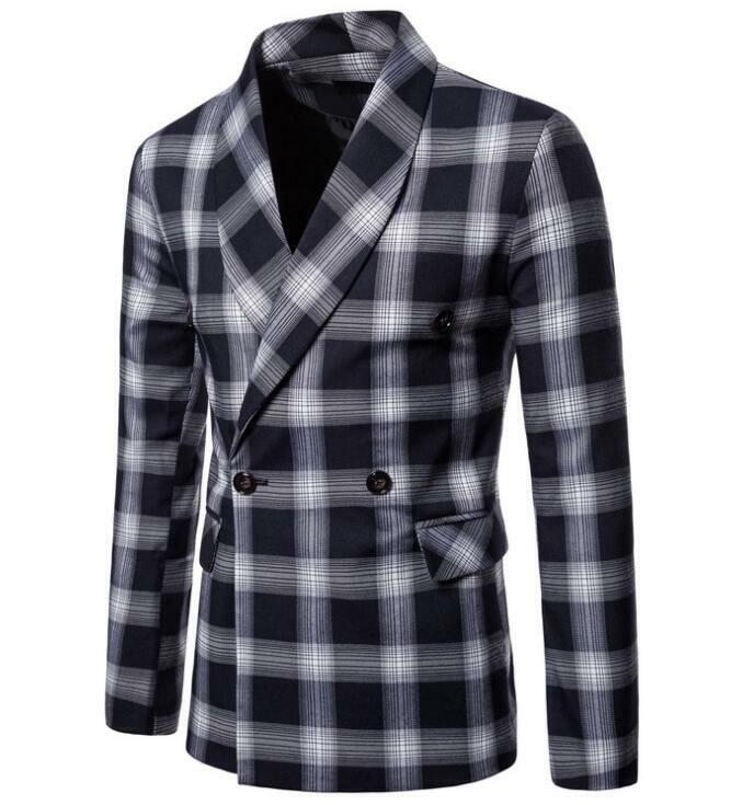 Solapa de manga larga para hombre cuadros Vogue Cruzado Abrigo Blazer Chaqueta Prendas de abrigo