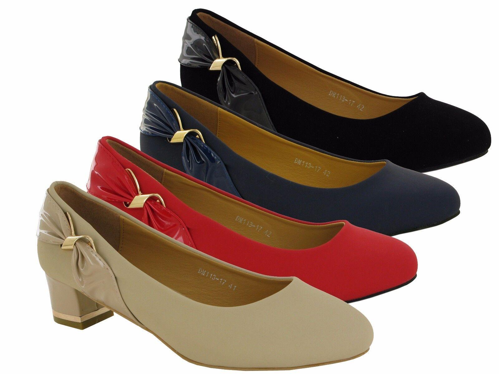 New Ladies/Womens Block Heel 8-11 Court Shoes,Black,Red,Navy UK SIZES 8-11 Heel 71bdde