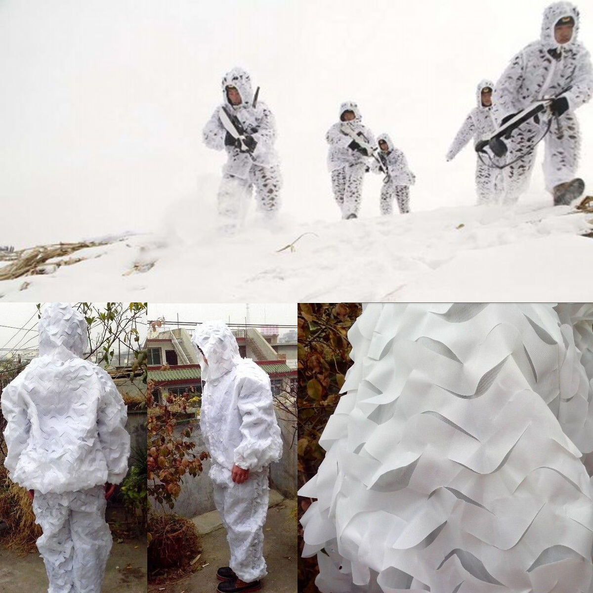3D Sniper  Snow White Camouflage Clothings Ghillie Suit Winter Traning hunting  authentic online