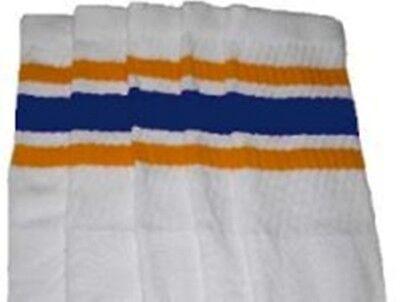 "25"" KNEE HIGH WHITE tube socks with DARK BROWN//GOLD stripes style 3 25-10"