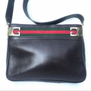 Vintage-Gucci-Accessory-1970s-stripe-shoulder-bag-brown-leather-RARE