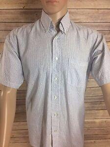 54b40b40472 Red Kap Men s Shirt Executive Oxford Short Sleeve Blue   White Neck ...