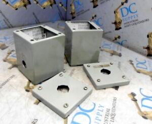 """2x 3//4/"""" Holes 6 x 3 3//4 x 2/"""" Lot of 2 Hammond 1590P1F Aluminum Enclosure"""