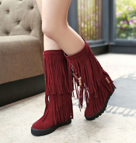 New Fashion Women Tassels Fringe Mid Calf Moccasin Fashion Faux Suede Flat Boots