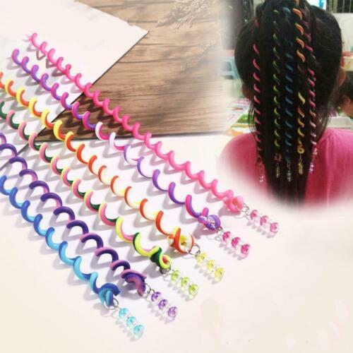 6Pcs DIY Modeling Tool Rainbow Color Headband Children Self-edited Hair Cur J8D0