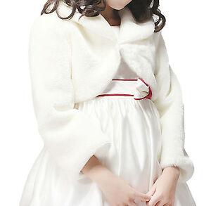 Child-Girl-Faux-Fur-Long-Sleeve-Bridesmaid-Shrug-Wedding-Bolero-Cape-Coat-Jacket