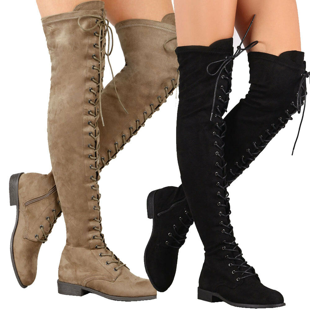Isla Women Round Toe Vegan Suede Military Combat Over The Knee High Boots LaceUp
