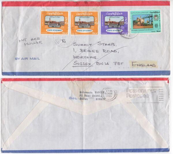 1988 Kuwait Air Mail Cover Safat De Worthing Gb Farook Slogan