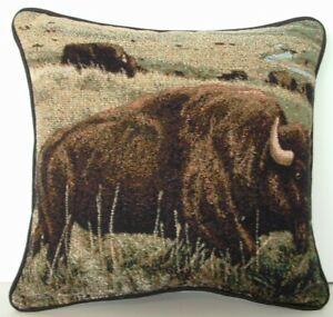 Buffalo Herd Of Buffalo Grazing On Hillside One Small Tapestry Pillows New Ebay