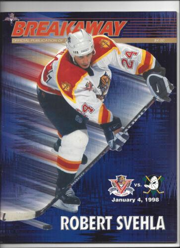 98 Seiten ANAHEIM MIGHTY DUCKS 04.01.1998 FLORIDA PANTHERS Programm NHL