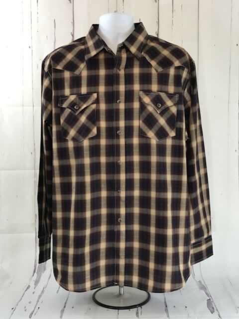 Pendleton Mens Long Sleeve Western Pearl Snap Frontier Shirt Size XL Brown Plaid