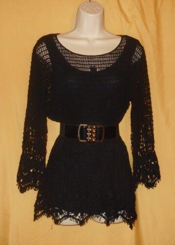 S109 tricot Cristina noir crochet en pour femmes de superposition 2 avec V 1 en Tunique jL45AR