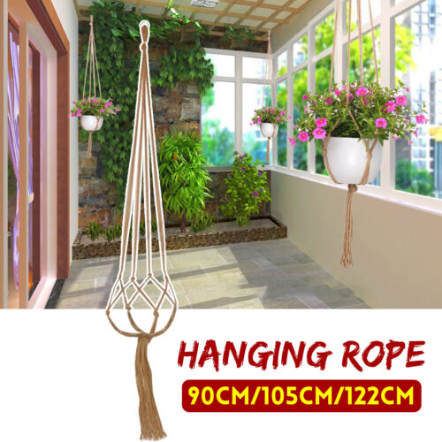 Vintage Macrame Flower Pot Plant Hanger Garden Holder Legs Hanging Rope Basket