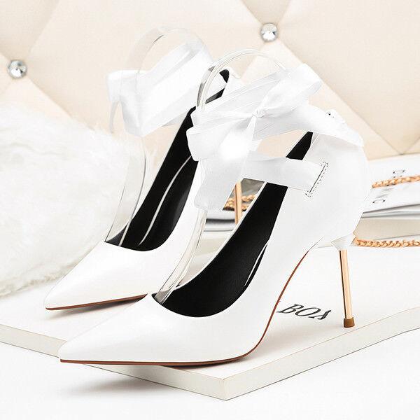 stiletto decolte scarpa donna 9.5 cm bianco fiocco simil pelle eleganti 9947