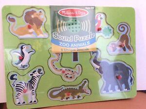Details About Melissa And Doug Sound Puzzle Zoo Animals Nip Zebra Elephant Penguin Lion Monkey