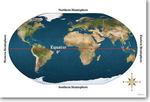 Equator geography world map classroom school new poster image is loading equator geography world map classroom school new poster gumiabroncs Image collections
