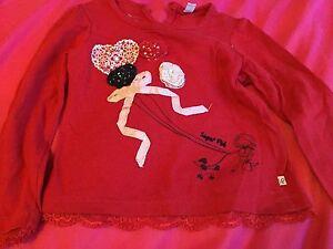 Sugar Pink 1218 Months Designer Long Sleeve Red Top Girls - <span itemprop=availableAtOrFrom>Chorley, United Kingdom</span> - Sugar Pink 1218 Months Designer Long Sleeve Red Top Girls - Chorley, United Kingdom