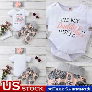 Newborn Baby Girls Summer Outfits Clothes Short Sleeve Romper Tops Floral Pants