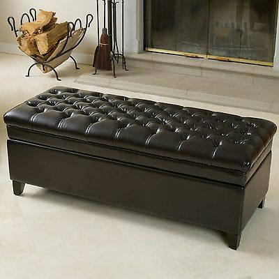 Tufted Espresso Espresso Leather Storage Ottoman Bench