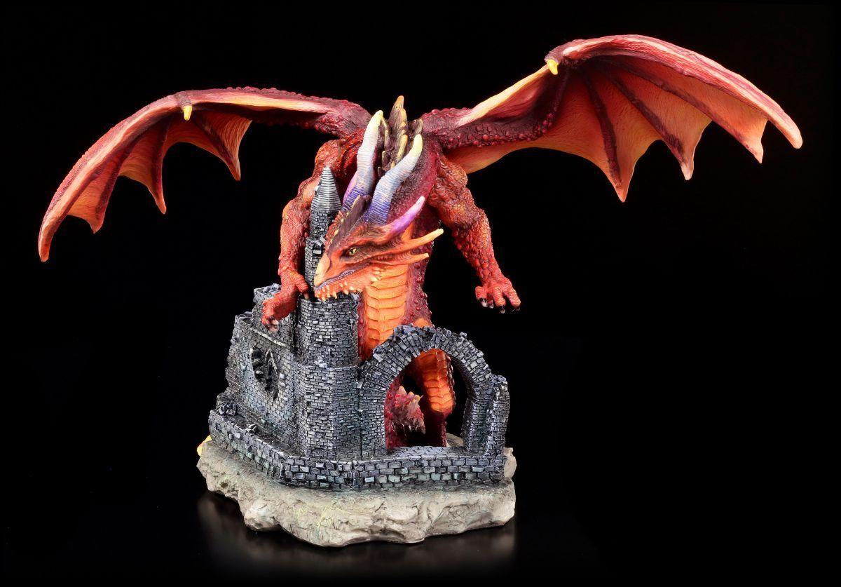 Figura de Dragón - rojo Furor sobre Ruina Castillo - Veronese Estatua Fanyasy