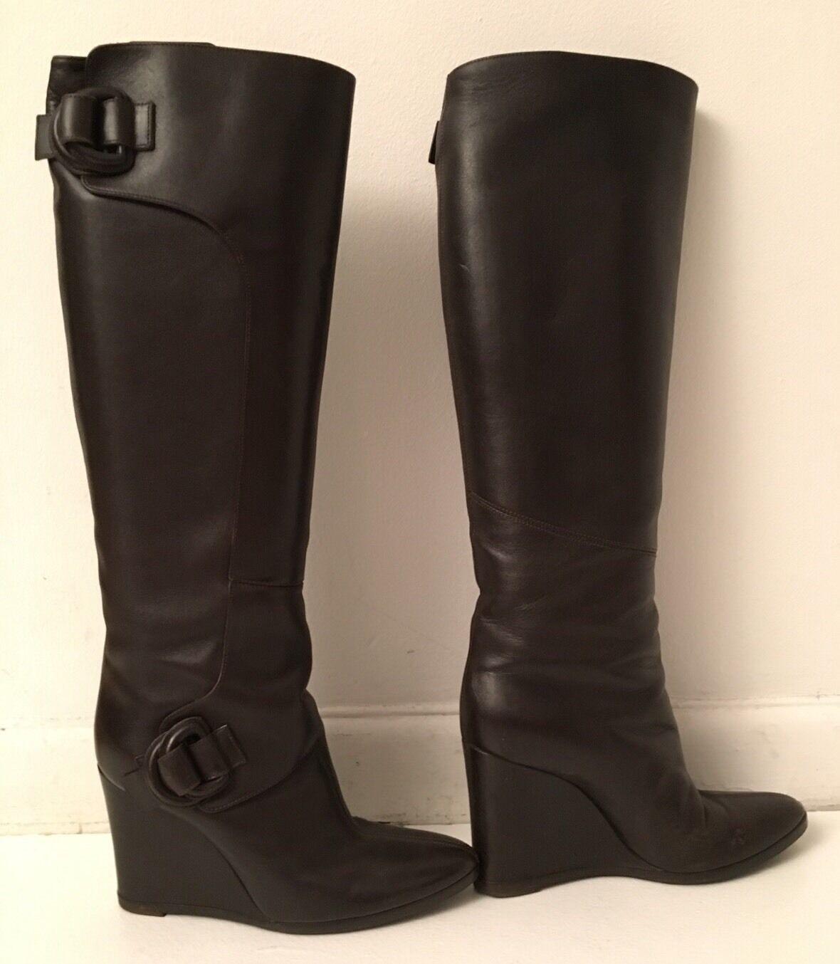 Balenciaga en en en cuir marron talon compensé genou-Bottes hautes SZ UE 38.5 US 8.5 M 3da4c4