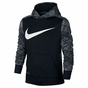 NWT Boys 8-20 Nike Therma-Fit KO Hoodie Pullover  Choose Size Black Black