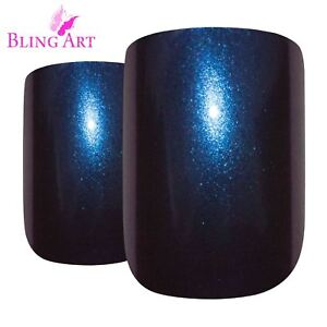 False-Nails-Blue-Purple-Chameleon-French-Squoval-24-Bling-Art-Tips-2g-Glue