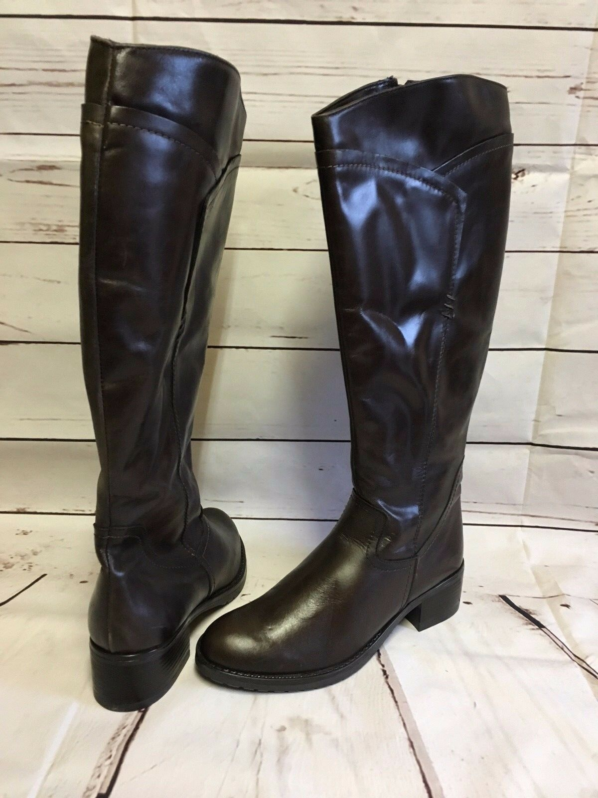 PIE LIBRA DARK BROWN KNEE HIGH ITALIAN LEATHER BOOTS SIZE UK 4 EU 37