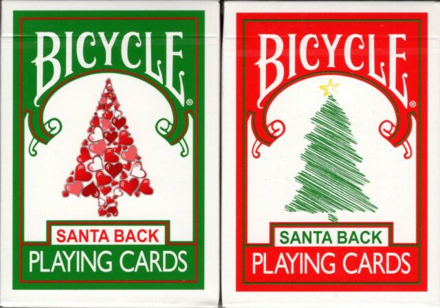 Walgreens Christmas Card.Santa Back 2 Deck Set Red Green Bicycle Playing Cards Poker Size Uspcc Limited