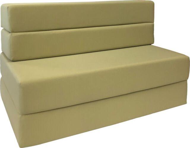 Amazing 4 Foldable Foam Matress Twin Studio Folding Sofa Chair Guest Bed Tan Bralicious Painted Fabric Chair Ideas Braliciousco