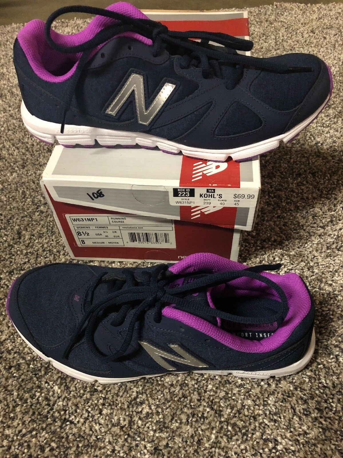 Women's New Balance Running Course W631NP1 Size 8.5 Navy With Purple K108