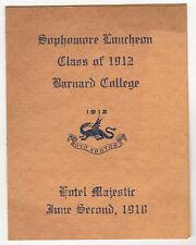 1910 BARNARD COLLEGE New York City LUNCH PROGRAM Columbia University NYC School