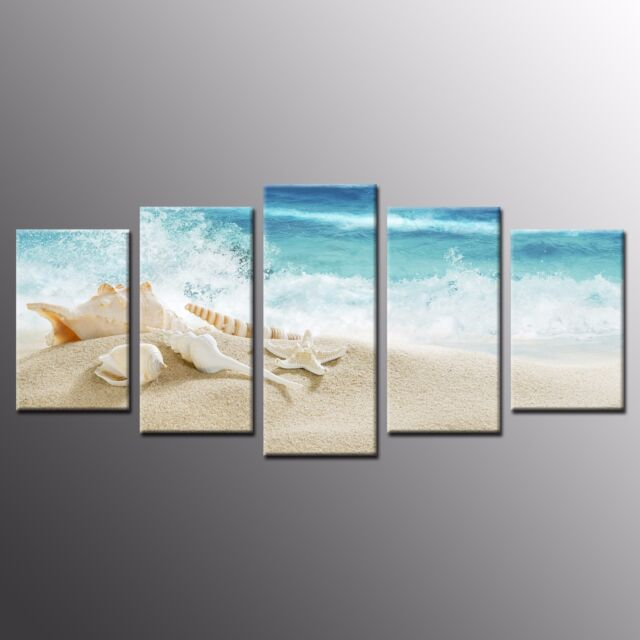 framed sea shell starfish beach print picture canvas wall art oil