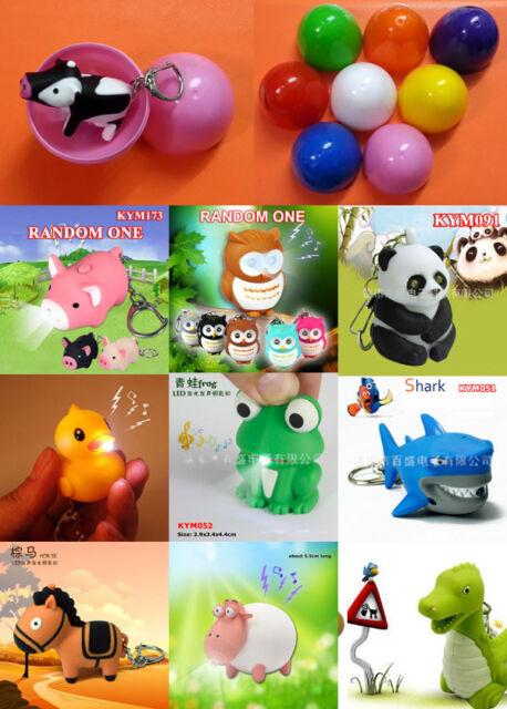 Animal Fish Insect Flashlight LED Light Sound Keyring Surprise Egg Kids Gift Toy