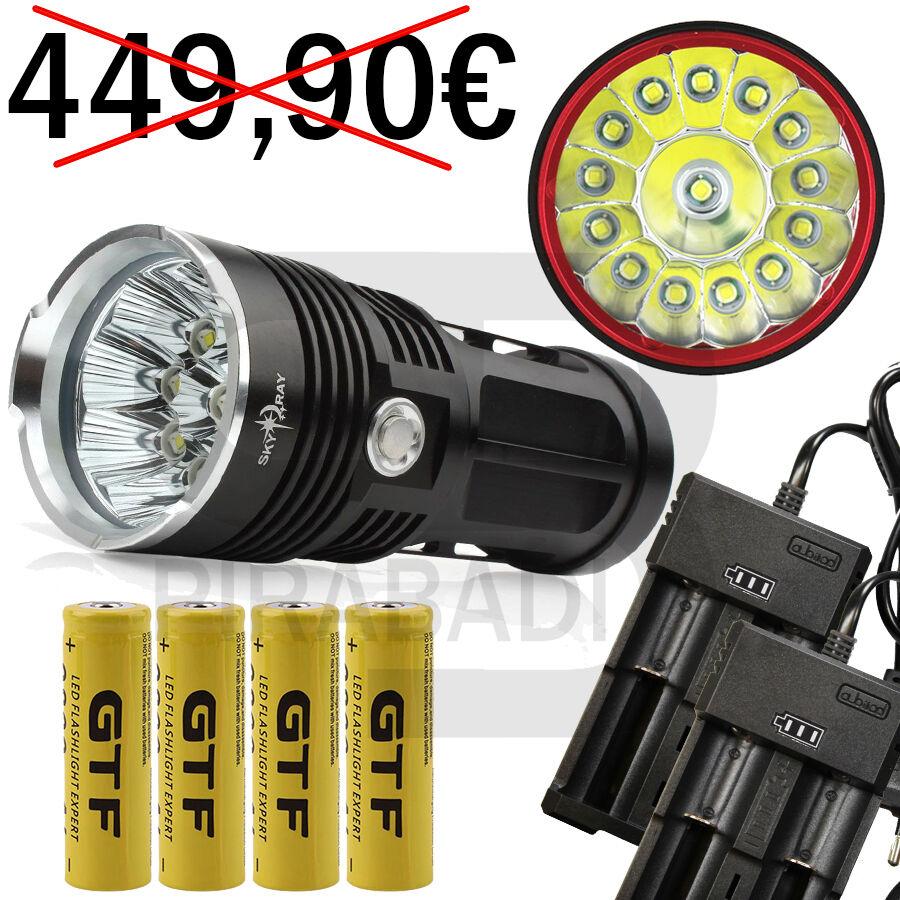 LAMPE TORCHE 14 LED LED LED 34000 LUMENS LED FLASHLIGHT POLICE + 4 PILES + 2 CHARGEUR 2df1d3