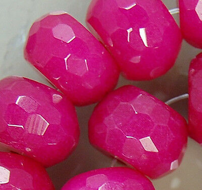 8x12mm Faceted Red Jade Rondelle Beads 25pcs
