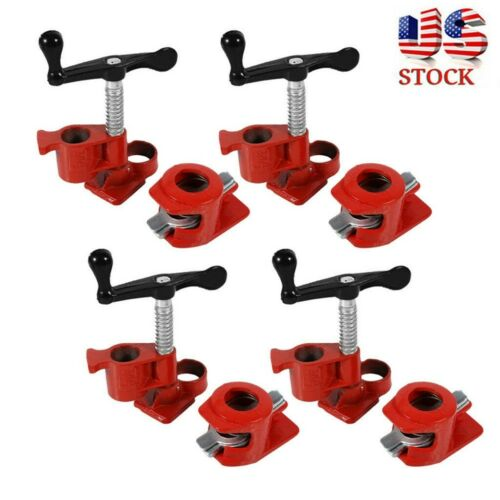 """4 Pack 1//2/"""" inch Wood Gluing Pipe Clamp Set Heavy Duty PRO Woodworking Cast Iron"""