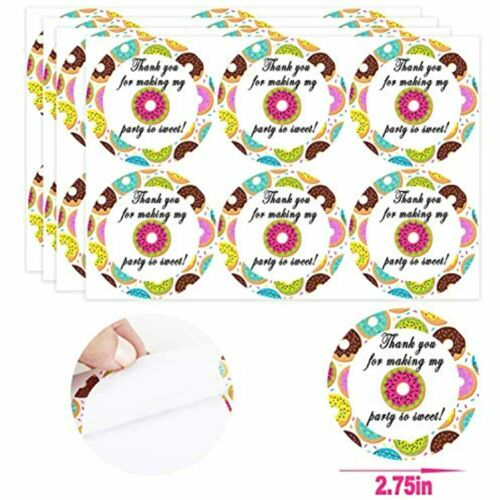 24 Pack Donut Party Candy Favor Bags With Stickers Goodie Gift Treat Themed