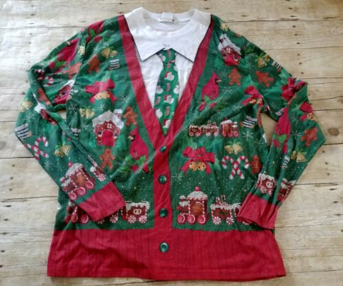 UGLY CHRISTMAS SWEATER Women/'s Red Embellished Snowman Patchwork Faux Fur Collar Vintage Petite Extra Large