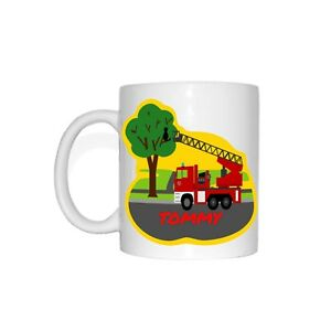 EMIL Kinder Tasse Feuerwehr Becher Feuerwehrauto rettet Katze Kind Name Baum