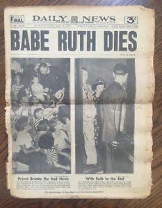 Babe Ruth Dies New York Daily News Newspaper August 17 1948 Rare