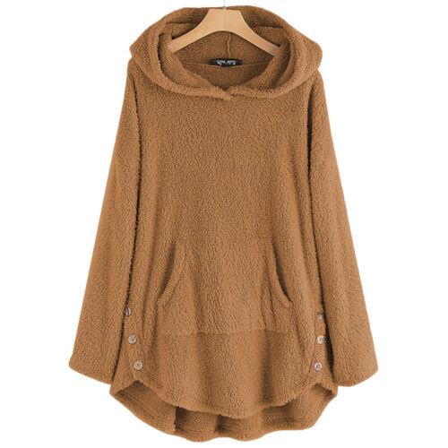 Womens Teddy Bear Fleece Hoodies Sweatshirt Winter Hooded Jumper Tops Size 8-22