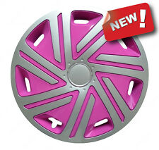 "4x15"" Pink Wheel trims fit VW Volkswagen Polo Golf Caddy  SILVER - PINK 15''"