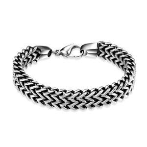 Heavy-8-5-034-Mens-Stainless-Steel-Double-Franco-Chain-Bracelet